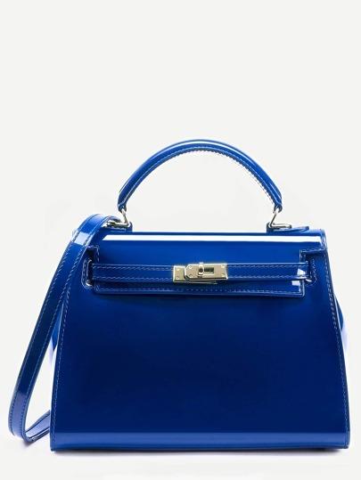 Bolso satchel turnlock tirante cierre plástico - azul