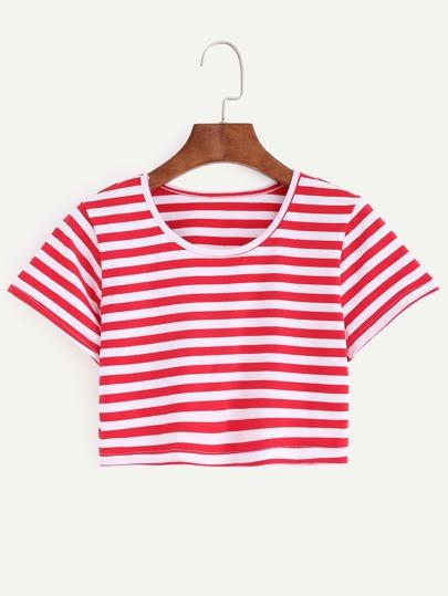 Red White Striped Crop T-shirt