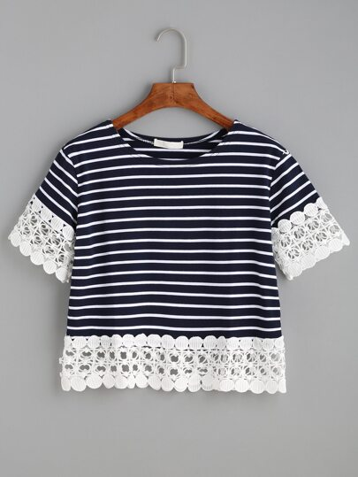 Navy Striped Appliques Hollow Out T-shirt
