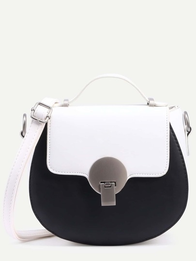 Contrast Faux Leather Metal Closure Saddle Bag