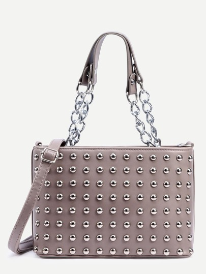 Grey Studded Chain Strap Satchel Bag