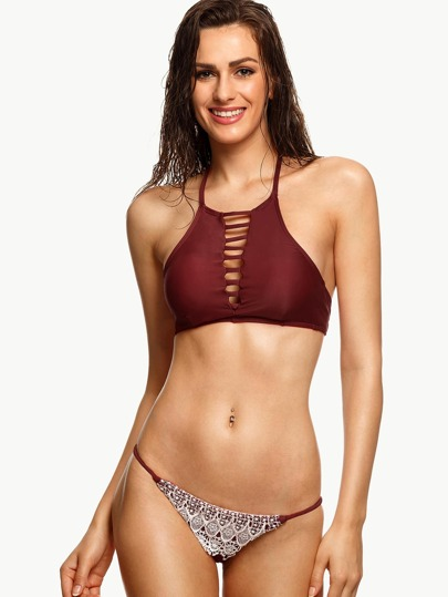 Burgundy Lace Applique Ladder Cut Bikini Set