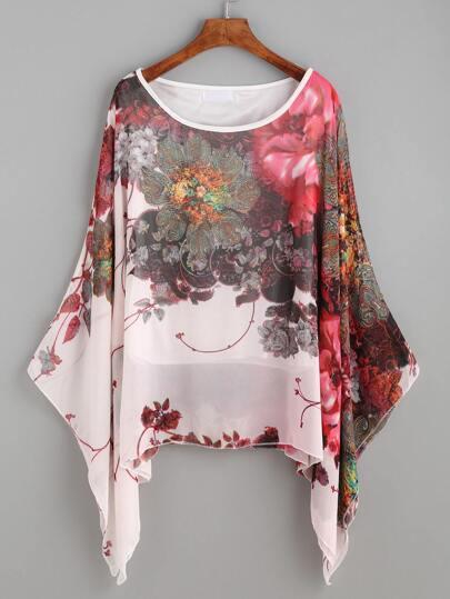 Pink Floral Print Batwing Chiffon Blouse