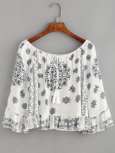 White Floral Print Boat Neck Ruffle Blouse