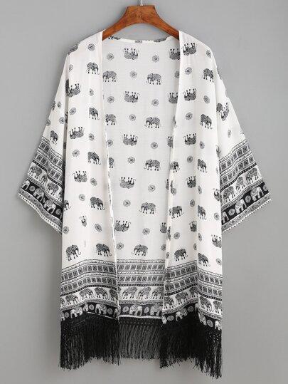 White Elephant Tribal Print Fringe Kimono