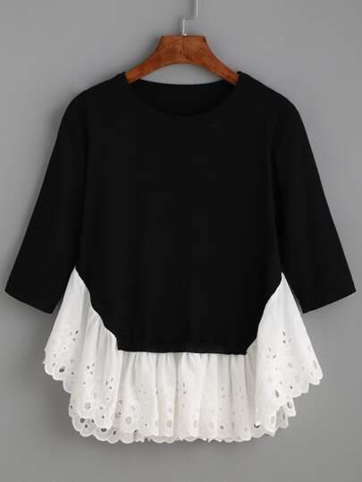 Black Long Sleeve Contrast Ruffle Hem Sweater