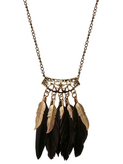 Black Feather Pendant Necklace