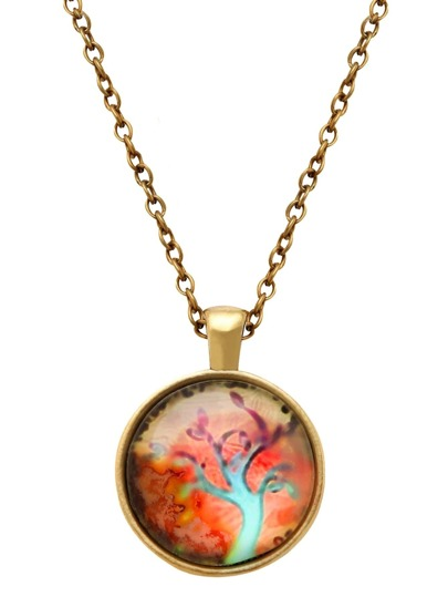 Bronze Tree Print Glass Pendant Necklace