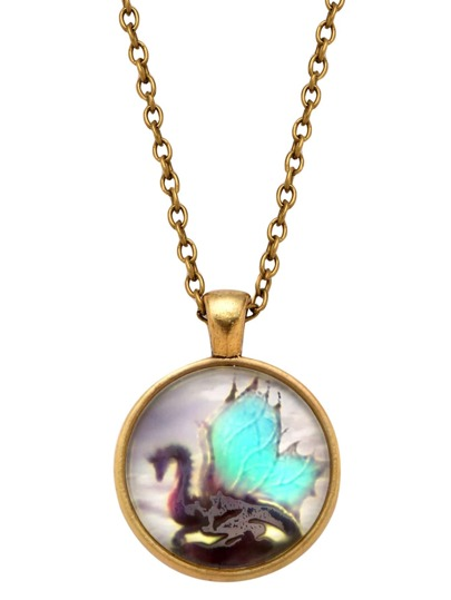Bronze Dragon Print Glass Pendant Necklace