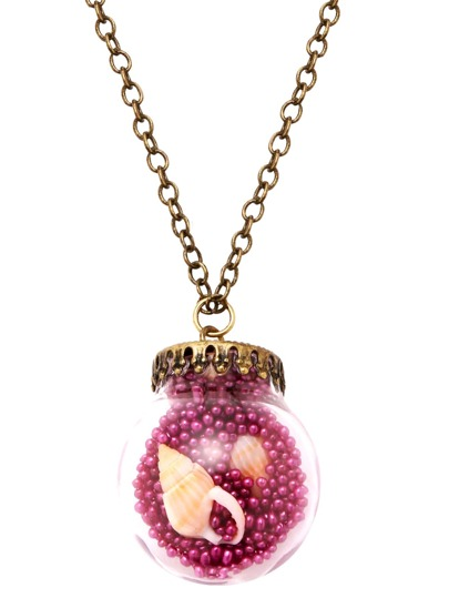 Antique Bronze Shell Inside Glass Jar Pendant Necklace