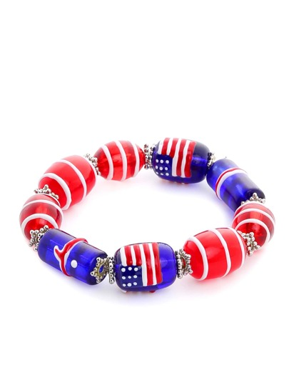 Multicolor Painted Glass Bead Bracelet