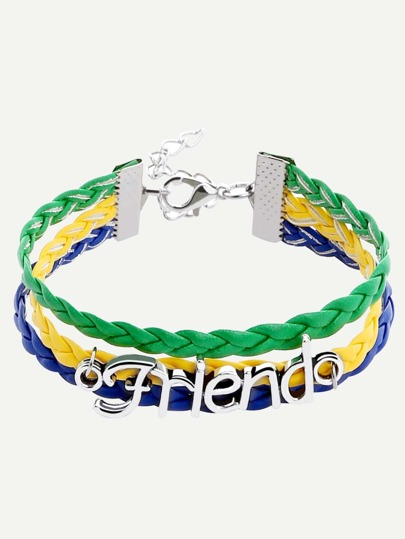 Multicolor Layered Braided Bracelet With Letter Plate
