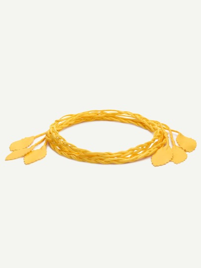 Yellow Leaf Tassel Braided Wrap Belt