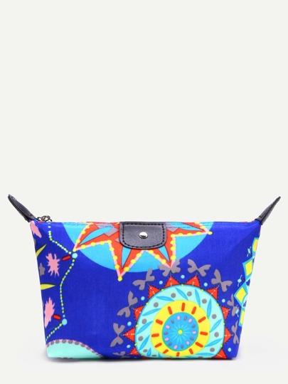 Blue Circle Print Zip Top Makeup Bag