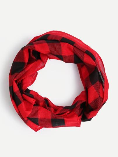 Black Red Checkerboard Square Scarf