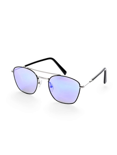 Square Mirrored Lenses Brow Bar Sunglasses