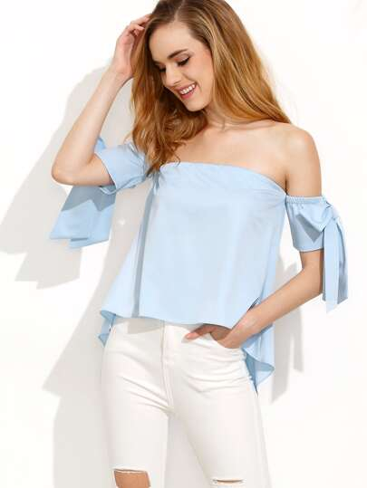 Light Blue Off The Shoulder High Low Blouse