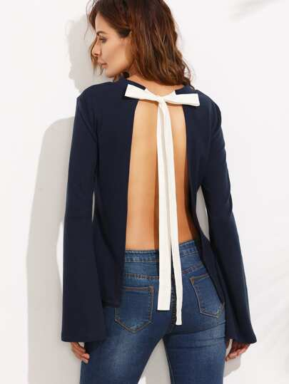 Navy Tie Open Back Long Sleeve Blouse