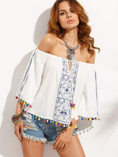 Blue Print in White Pom-pom Hem Off The Shoulder Blouse