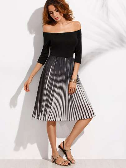 Black and White Pleated Off The Shoulder Dress