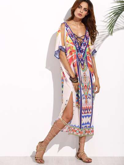 Double Plunge Crisscross Tribal Print Kaftan Dress