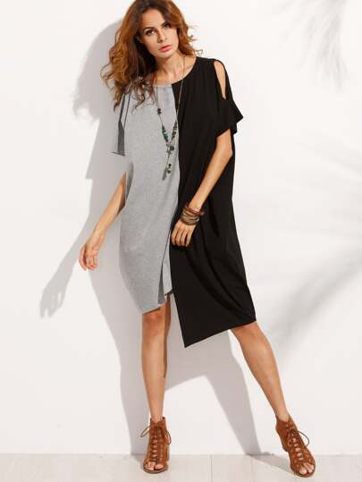 Color Block Asymmetrical Split Sleeve Dress