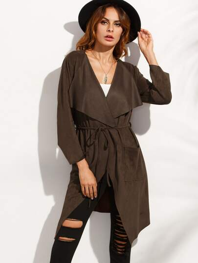 Brown Lapel Tie Waist Long Outerwear