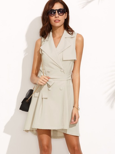 Light Grey Lapel Tie Waist Sleeveless Outerwear