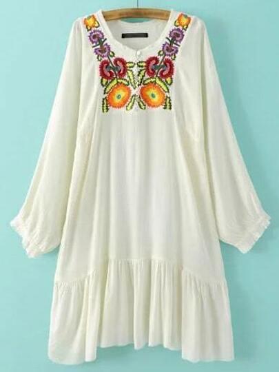 Beige Elastic Cuff Embroidery Shift Dress