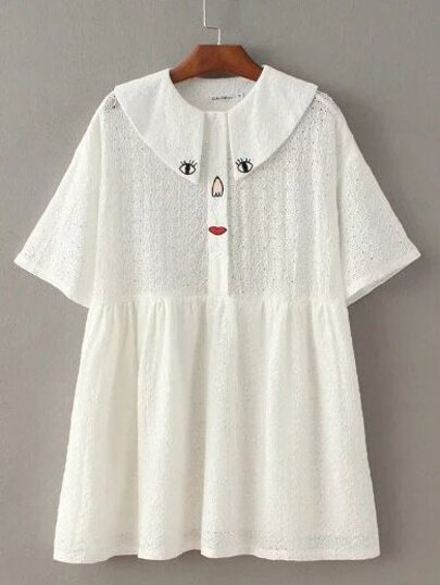 White Peter Pan Collar Embroidery Button Dress