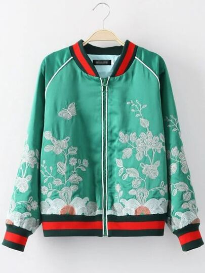 Green Crew Neck Embroidery Zipper Jacket