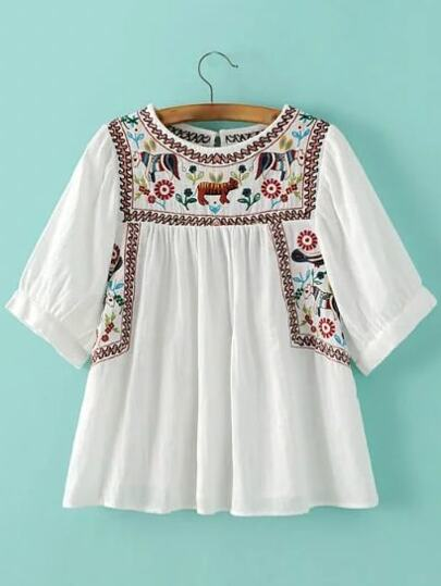 White Animal Embroidery Key-hole Back Blouse