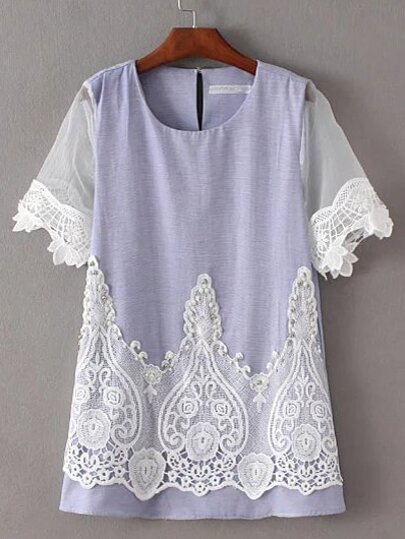 Lavender Pearl Embellished Key-hole Blouse