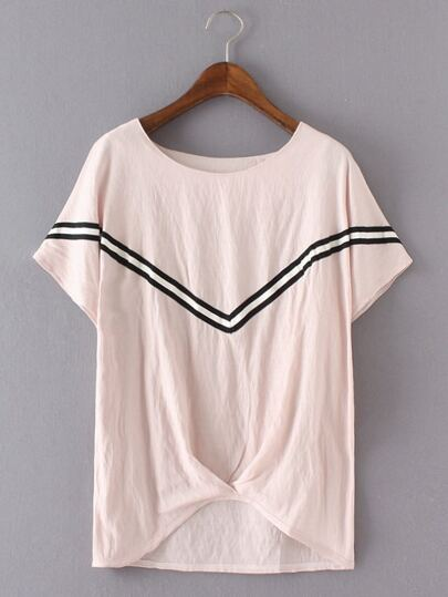 Pink Stripe Trim High Low Blouse