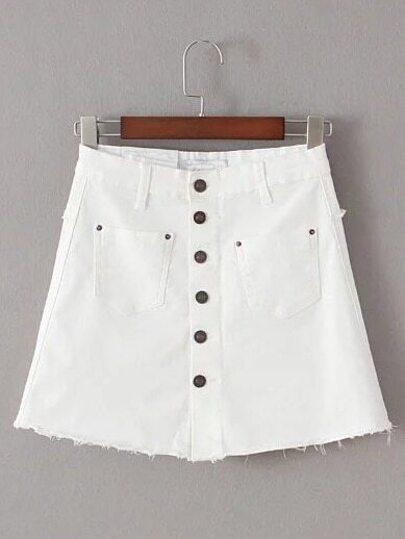 White Single Breasted Pocket Skirt