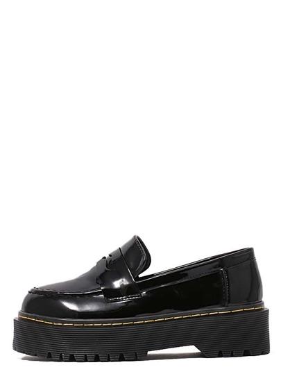 Black Patent Leather Round Toe Wedges