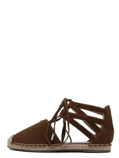 Espadrilles à lacets bout rond - marron