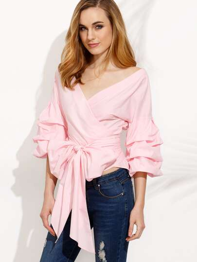 Ruched Sleeve Bow Tie Waist Surplice Blouse