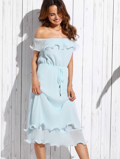 Blue Off The Shoulder Ruffle Tie Waist Dress