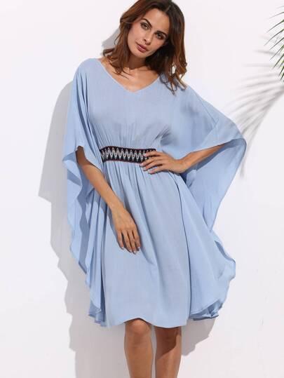 Blue Batwing Sleeve Tie Backless Dress