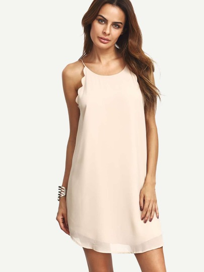 Nude Spaghetti Strap Sleeveless Chiffon Shift Dress