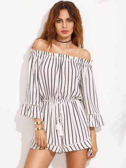 Black and White Striped Off The Shoulder Drawstring Jumpsuit