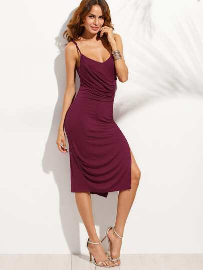 Purple Spaghetti Strap Split Side Midi Dress