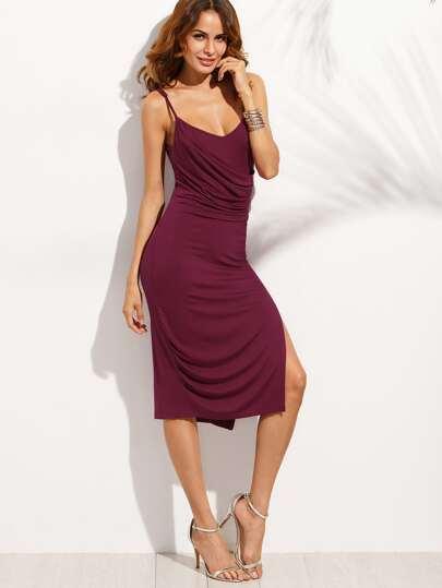 Vestido tirante fino abertura lateral - violeta