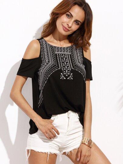 Black Embroidered Round Neck Cold Shoulder T-shirt