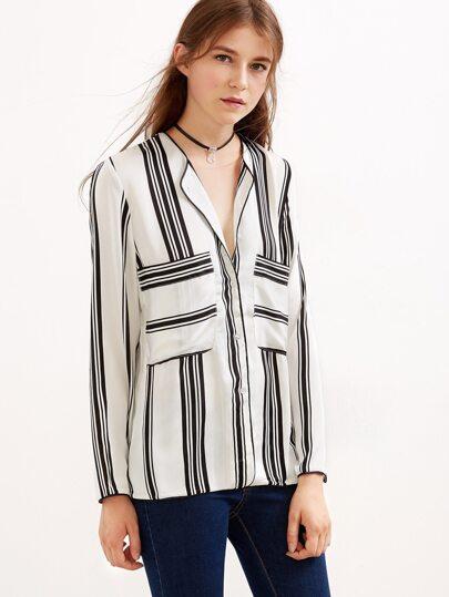 Black And White Stripe Button Blouse