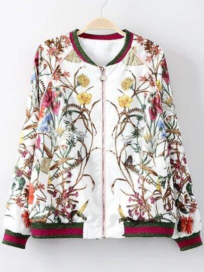 White Rib-knit Cuff Printed Zipper Jacket