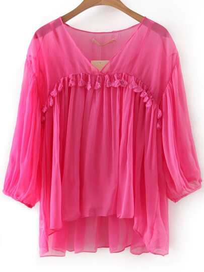 Rose Red V Neck Tassel Blouse With Lining