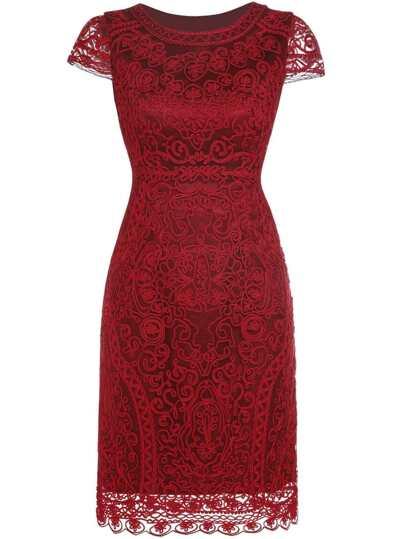Red Gauze Disc Flowers Sheath Dress