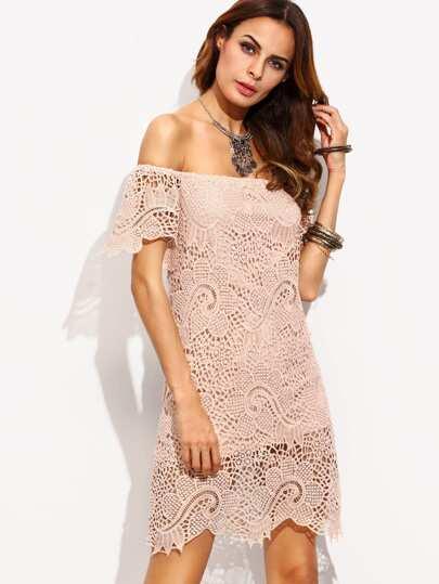 Light Pink Crochet Off The Shoulder Sheath Dress